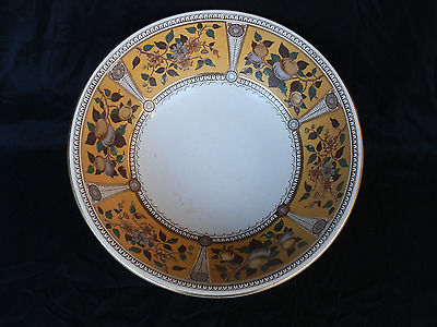 Aesthetic Movement Brown Transfwerware Wash Bowl Polychrome Gold Silver Gilt