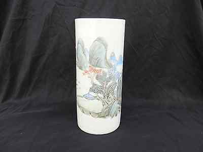 Antique Chinese Hand Painted Scenic Porcelain Cylindrical Vase Signed 19/20c