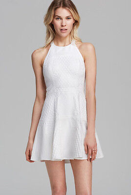 PARKER 'Leona'~ White Floral Lace Overlay Flare Halter Party Dress M NEW $286