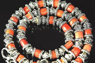 """Exceptional hand made antique coral beaded neckless Tibetan silver 18"""""""