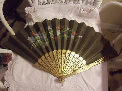 Hand Painted Large Black Hand Fan With Ornate Carved Detailing