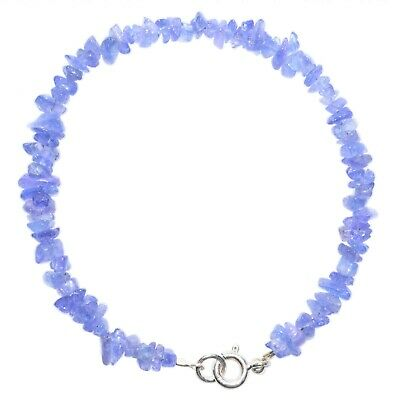 Premium CHARGED Tanzanite Crystal Chip Bracelet Sterling Clasp ~40 Carats