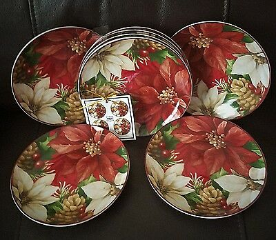 222 Fifth Poinsettia Holly Appetizer / Dessert Plate Set Of 8 New