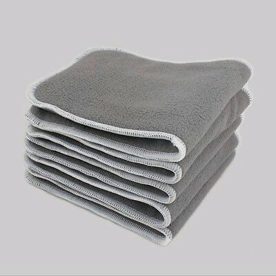 5 Layer Charcoal Bamboo Microfiber Cloth Diaper Insert Washable Reusable, 5 Pack