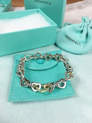 Auth. Tiffany Silver and 18K Gold Heart Link Bracelet Pouch/box/bag