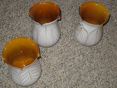 Set of 3 Todd Phillips Signed Pulled Feather Glass Shades