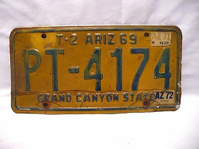 Vintage 1969 T-2 ARIZONA PT-4174 Grand Canyon State Trailer License Plate