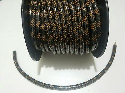7mm Copper Core BRAIDED CLOTH BLACK ORANGE SPARK PLUG WIRE DIY per foot 1'