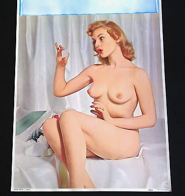 How Nice Puffy Nipple Natural Breasts Nude Naughty KLM 1950's Large Photo Pin Up