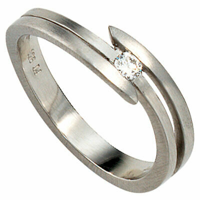 Ladies Ring mit 1 Diamond 0,09ct. 950 Platinum matte Platinum Ring