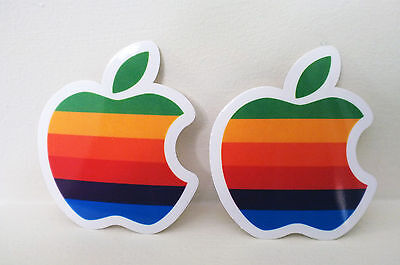 2x Vintage Retro Apple Shop Mac Rainbow Logo 7cm semi-transpatent Decal Sticker