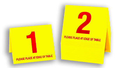Plastic Table Numbers 1-20, Tent Style, Yellow w/ Red Number, Free shipping