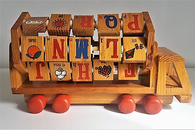Vintage Wooden Toy Truck with Alphabet Number & Picture Block Abacus Handmade