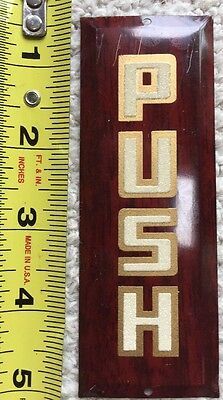 1940s Original NOS Metal DOOR PUSH Advertising Sign
