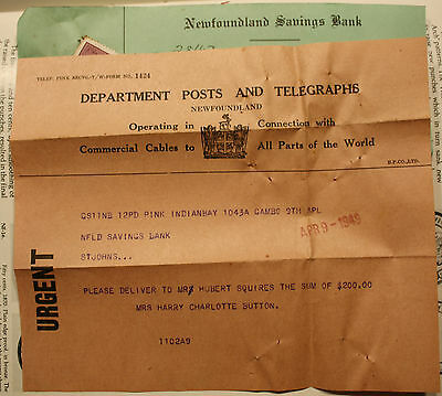 1949 Newfoundland Dept Of Post & Telegraphs Commercial Cable - Urgent W/ Cheque