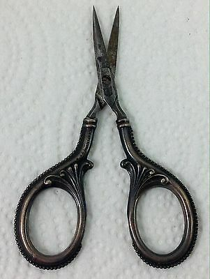 """Antique STERLING SILVER German Embroidery Scissors, Ornate - 4"""" long"""