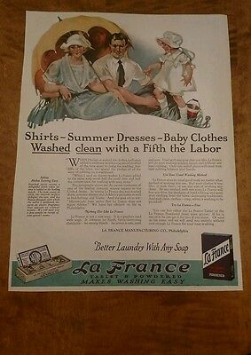 Original 1922 La France Washer Soap advertisement. Very colorful..Be nice framed