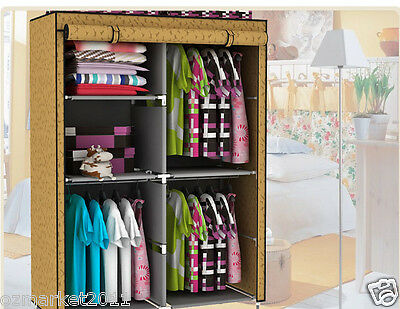 * Apricot Dust-Proof Steel Frame Non-Woven DIY Multi-Purpose Wardrobe/Storage