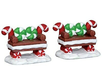 Lemax Village Peppermint Cookie Benches Accessory Set Christmas House Figure