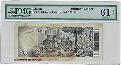 Ghana 5 Cedis  P-UNL5apm Pick Unlisted (UNC) PRINTER'S MODEL PMG 61 NET