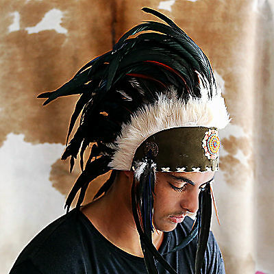 Native American Headdress Indian Costume Chief War Bonnet Black Feathers