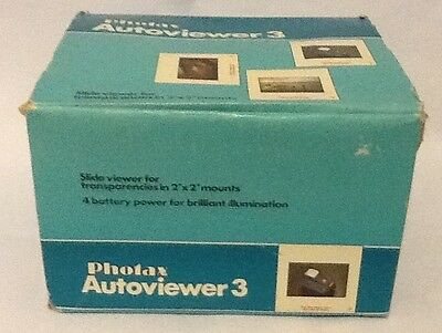 Photax AutoViewer 3 Slide Viewer In Box Untested Requires 4 Large 1.5 Battery's