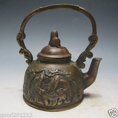 Chinese Bronze Handwork Carved Teapot & Old man
