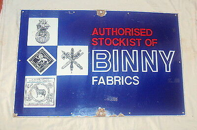 Vintage Binny Fabrics Porcelain Enamel Sign Rare Circa 1960's Collectible Adsign