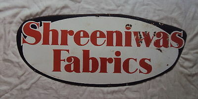SHREENIWAS FABRICS DIE-CUT Porcelain Enamel Sign C1940s