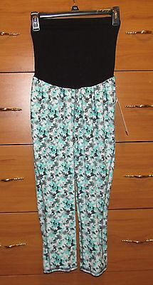 NWT Oh Baby Motherhood Maternity Bump Style Teal Floral Leggings Size Large, NEW
