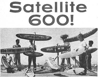 Model Airplane Plans (FF): SATELLITE 600 by Bob Hunter for .19-.23 engine