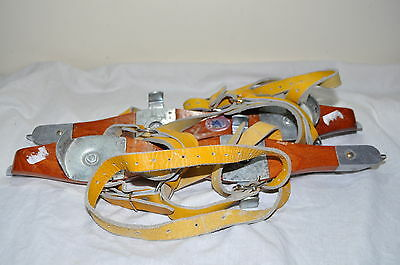 Vintage Gillbergs Ice Skates Wood Steel Leather Unisex Made In Angelholm Sweden