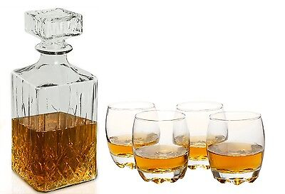 Whisky Decanter & or 4 Whiskey Tumbler Glasses Set - Deluxe glass decanter