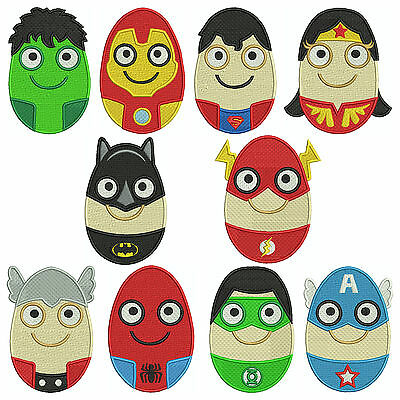 SUPERHEROS EASTER EGGS * Machine Embroidery Patterns * 10 Designs, 3 sizes