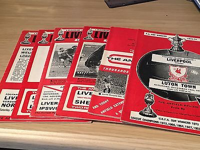 Liverpool Programmes Job Lot X 6 1973-4