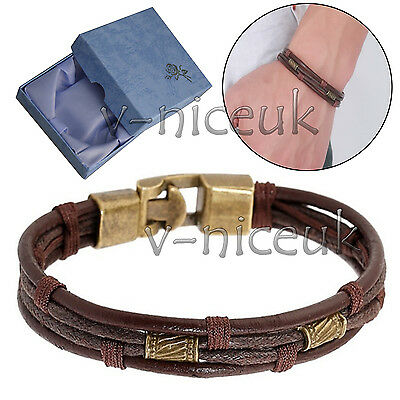 Mens Surfer Genuine Leather Bracelet Wristband Beads Braided Wrap Brown Gift Box
