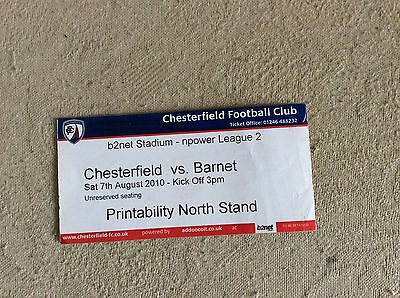 Chesterfield v Barnet 2010-11 used MATCH TICKET ( 1st ever LEAGUE game at ground