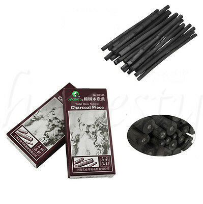 6pcs Charcoal Sticks Bar Sketch Art Drawing Sketching Oil Painting Willow & Case