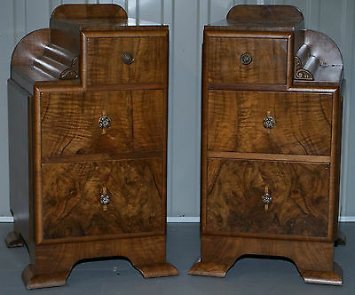 Stunning Original Art Deco Antique Walnut Bedside Tables Wood Patina To Die For