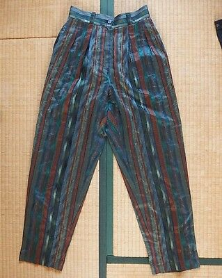 VINTAGE1980's KENZO LADY'S HIGH WAIST TAPERED PANT M SHINY BEAUTIFUL COLOR RETRO