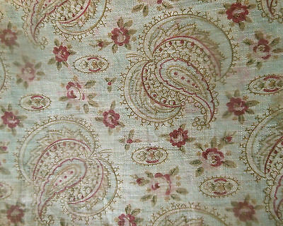 Antique Jacobean Paisley Roses Light Cotton Fabric ~ Soft Sage Pink Burgundy