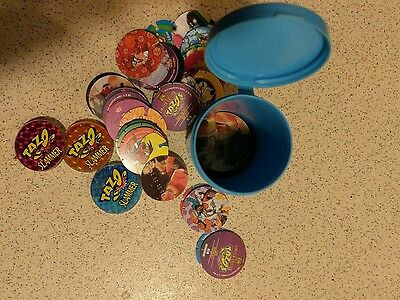 assorted pogs and tazos