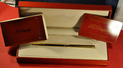 """S.T. Dupont""  Classic  Gold Plated&Black Clip Ball point pen w/Original box"