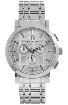 Burberry BU1384  Men's Heritage Chronograph Stainless Watch With Box Brand New