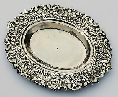 OTTOMAN TURKISH SILVER REPOUSSE DISH TUGHRA 19th Century 10 Inches