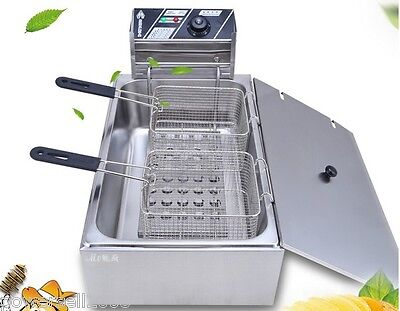 New 12L Commercial Electric Deep Fryer Frying Basket Chip Cooker Fry 2500W #1