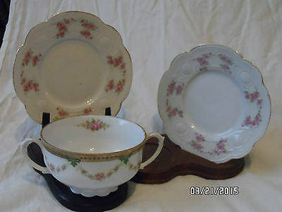 LOVELY ANTIQUE M.Z. MORITZ ZDEKAURE AUSTRIA PINK ROSES TWO HANDLED CUP & 2 sauce