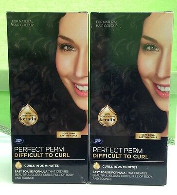 2 X Boots Perfect Perm Difficult To Curl - Home Perming Kit - New - Free Postage