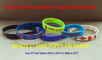 Silocone R.b.l  Poppy Appeal. Wristbands  Mixed Size And Colour  Set Of 6