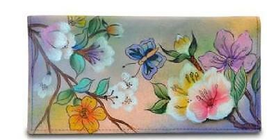 Anuschka Hand Painted Checkbook Cover in Japanese Garden Print, NWT